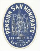 SPAIN ♦ BARCELONA ♦ PENSION SAN HONORATO ♦ ESPAÑA ♦ VINTAGE LUGGAGE LABEL ♦ 2 SCANS - Hotel Labels
