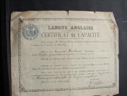 MD. 2. 29. Certificat De Capacité De Langue Anglaise Attribué à Valentine Heirbrant En 1917. - Documentos Históricos