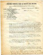 Facture Lettre-union Féminine Pour La Société Des Nations-paris 5ème- - 1900 – 1949