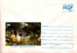BOTOSANI- NICOLAE IORGA MEMORIAL HOUSE, STATUE,  COVER STATIONERY, ENTIERE POSTAUX, 1995, ROMANIA - Enteros Postales