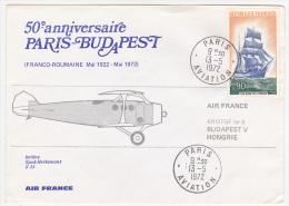 Enveloppe Commémorative - 50eme Anniversaire Paris Budapest - Air France - 1972 - First Flight Covers