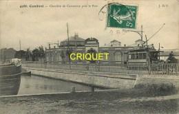 Cpa 59 Cambrai, Chambre De Commerce Près Le Port, Beau Tramway, Carte Pas Courante Affranchie 1909 - Cambrai