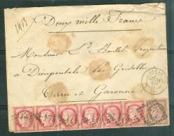 Lettre En Valeurs Déclarées ( 2000 Francs)  Yvert 57 X 6 + 54, Cote Maury Spécialisé  = 900 Euros - Ax67 - Marcofilie (Brieven)
