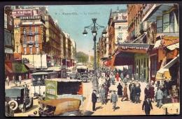 CPA ANCIENNE- FRANCE- MARSEILLE (13)- LA CANEBIERE COLORISÉE- TRAM- AUTOS- CAMIONS- PUB CADUM, COINTREAU- SUPER ANIMÉE- - The Canebière, City Centre