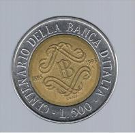 ITALIA - ITALY = 500 Liras 1993 KM160 - Centenari De La Banca - Conmemorativas