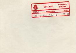 ETIQUETA 214 MADRID UTILIZADA EN EXFILNA-86. NUEVA SOBRE SOPORTE - Marcofilia - EMA ( Maquina De Huellas A Franquear)