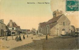50 BARNEVILLE - PLACE DE L EGLISE ( CPA TOILEE ET COLORISEE ) - Barneville