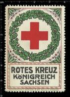 Old Original German Poster Stamp (advertising Cinderella, Label, Reklamemarke, Werbemar) Red Cross Roten Kreuz Saxony - Red Cross