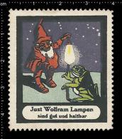 Old Original German Poster Stamp (cinderella, Label, Reklamemarke) Just Wolfram Lamp - Dwarf Zwerg Frog Frosch - Frogs
