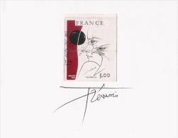 TREMOIS PIERRE YVES  (1921 PARIS..)  PEINTRE SCULPTEUR GRAVEUR FRANCAIS . AUTOGRAPHE SOUS UNE DE SES OEUVRES EN TIMBRE - Autographs