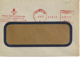 Norway - 1937 - Mechanical Postmark, K.N.A. Garden, Kongelig Norsk Automobilklub, Oslo, 08-05-37 - Holidays & Tourism