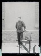 Lyon 1901 Chaillet En Artilleur - Artillerie Portrait Militaire - Plaque De Verre Photo - Plaques De Verre