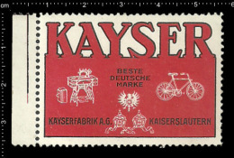 Old Original German Poster Stamp ( Advertising Cinderella,reklamemarke, Werbemarke) Kayser - Bicycle Cycling - Cycling