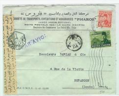 EGYPTE LETTRE POUR BESANCON  AVEC CENSURE - Ägypten
