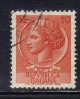 AP988 - REPUBBLICA , Turrita Il 10 Lire Con Filigrana Stelle 65° DX Used - 6. 1946-.. Repubblica