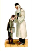 Judaica Jewish Old Litho Die Cut Prize Rabi Blessing A Child 1900´s - Other