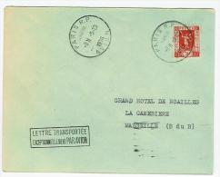 LETTRE TRANSPORTEE EXCEPTIONNELLEMENT PAR AVION DE PARIS POUR MARSEILLE - Postmark Collection (Covers)
