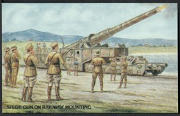 "WW1  War Bond Campaign Post Card  No3  ""Seige Gun On Railway Mounting"". - Patriotic"