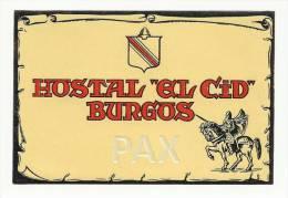 SPAIN ♦ BURGOS ♦ HOSTAL EL CID ♦ ESPAÑA ♦ VINTAGE LUGGAGE LABEL ♦ 2 SCANS - Hotel Labels
