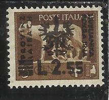 OCCUPAZIONE ITALIANA ITALY ITALIA LUBIANA 1944 TEDESCA LIRE 2,55  MNH - Occup. Tedesca: Lubiana