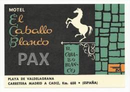 SPAIN ♦ PLAYA DE VALDEGRANA ♦ MOTEL EL CABALLO BLANCO ♦ ESPAÑA ♦ VINTAGE LUGGAGE LABEL ♦ 2 - Etiquettes D'hotels