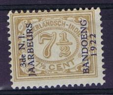 "Dutch East Indies, Nederlands Indie, 1922 7,5 Ct Met Opdruk ""3de N.I. JAARBEURS BANDOENG 1922"" NVPH 155 MH/*"