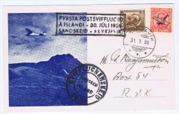 Iceland: First Glide Flight, Erstflug, Sandskeid-Reykjavik 30.7.1939 - 1918-1944 Autonoom Bestuur