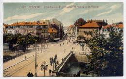 BELFORT--1933--Pont Carnot-Place Corbis  Et Faubourg De France (animé) N°107  éd La Cigogne--carte Colorisée - Belfort - Ville