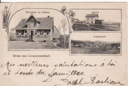 Gruss Aus LANGENSULZBACH-LANGENSOUL TZBACH (Bas-Rhin) Vue- Gare-Café De La Gare- Cachet-Timbre Bahnpost-Cachet TRAIN - France