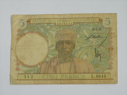 5 Francs 1942 - Banque De L´Afrique Occidentale **** EN ACHAT IMMEDIAT **** - Bankbiljetten
