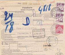 BRD 493, 2x 503 MiF Auf Auslands-Paketkarte Mit Stempel: Baierbrunn 18.11.1969 Nach Aartselaar Belgien, Zoll: Herbesthal - [7] République Fédérale