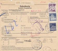 BRD 500, 503, 509 MiF Auf Auslands-Paketkarte Mit Stempel: Donzdorf 29.10.1969 Nach Hove Belgien, Zoll: Antwerpen - [7] République Fédérale