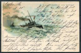 Deutsche Marine, Torpedoboot In Voller Fahrt, Litho 1900 Nach Hannover - Warships