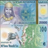 MAYA YUCATANIA 2000 2,000 MIL SOLES DE ORO 2012/2013 P NEW POLYMER UNC - Non Classificati