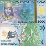 MAYA YUCATANIA 2000 2,000 MIL SOLES DE ORO 2012/2013 P NEW POLYMER UNC - Banconote