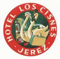 SPAIN ♦ JEREZ ♦ HOTEL LOS CISNES ♦ ESPAÑA ♦ VINTAGE LUGGAGE LABEL ♦ 2 SCANS - Etiketten Van Hotels