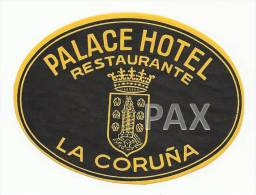 SPAIN ♦ LA CORUNHA ♦ PALACE HOTEL ♦ ESPAÑA ♦ VINTAGE LUGGAGE LABEL ♦ 2 SC - Etiketten Van Hotels