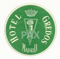 SPAIN ♦ MADRID ♦ HOTEL GREDOS - GREEN ♦ ESPAÑA ♦ VINTAGE LUGGAGE LABEL ♦ 2 SCANS - Etiketten Van Hotels