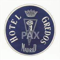 SPAIN ♦ MADRID ♦ HOTEL GREDOS - BLUE ♦ ESPAÑA ♦ VINTAGE LUGGAGE LABEL ♦ 2 SCANS - Etiketten Van Hotels
