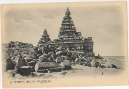 Vintage Postcard (Undivided Back), A Temple, Seven Pagodas (Temple On The Sea Shore), India  (ref.#-2664se) - Inde