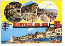 Blonville Sur Mer : La Plage Tentes Front De Mer Jeux Enfants Hotel - Blasons - Multivues N°3913 - Other Municipalities