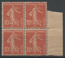 FRANCE - 10 C. Rouge Papier GC En Bloc De 4 Neuf TTB - 1906-38 Säerin, Untergrund Glatt