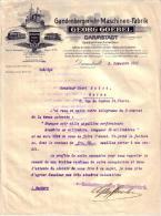 ALLEMAGNE - DARMSTADT - GANDENBERGER´SCHE MASCHINEN FABRIK - GEORG GOEBEL - LETTRE - 1911 - Germany