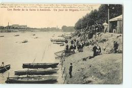 Asnières : Les Bords De La Seine Un Jour De Régates. Dos Simple. 2 Scans. Edition Trianon - Asnieres Sur Seine