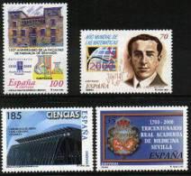 ESPAÑA 2000 - CIENCIAS - Edifil Nº 3708-3711 - Yvert 3275-3278 - 1931-Hoy: 2ª República - ... Juan Carlos I