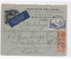 France 1937 : Lettre Par Avion Pour La Suède  , Belle En-tête - Storia Postale