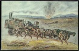 "WW1  War Bond Campaign Post Card  No10  ""Moving Up A 6-inch Gun"". - Patriotic"