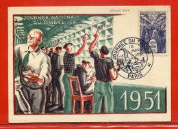 FRANCE OBLITERATION JOURNEE DU TIMBRE SUR CARTE DU 10/03/1951 DE PARIS - Cartes-Maximum