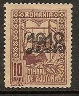 ROMANIA 1918 REVENU STAMP OVERPRINT SC # RA7 MNHNG - Steuermarken