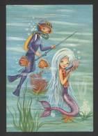 Humor - Sub Pescatore Con Sirena Sirenetta - Artistica - Viaggiata 1968 - Humour